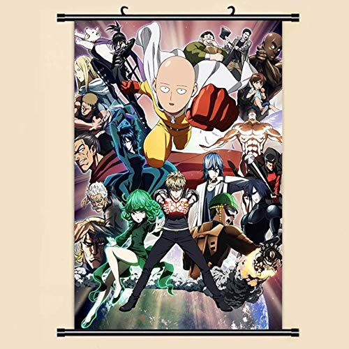ZXJWZW Anime One-Punch Man Decoración para El Hogar Cartel De Desplazamiento De Pared Cartel De Dibujos Animados Tela Cartel De Desplazamiento De Pared Pintura,2,60cmx90cm