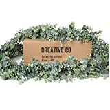 DREATIVE CO 9.2ft Eucalyptus Garland Greenery Boxwood Lambs Ear, Wedding or Mantle or Fresh Plant for Baby Shower Decorations, Artificial Faux Face Eculaptus, Green Leaf Magnolia, Farmhouse or Table