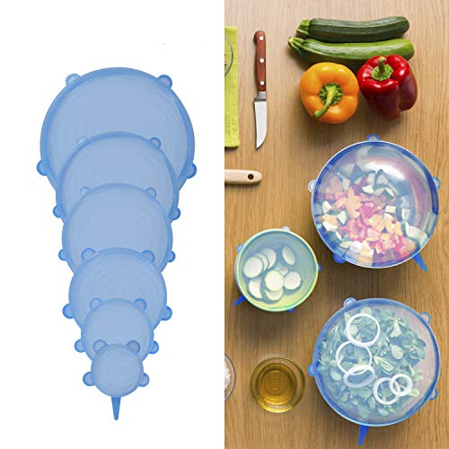 Tapas de silicona elásticas y reutilizables para cocina. 12 tapas herméticas ajustables de silicona útiles como protector de alimentos. Tapas flexibles de varios tamaños para recipientes. Sin
