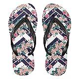 Linomo Chanclas para hombre y mujer, con diseño de flores, zigzag, chanclas para verano, para la playa, multicolor, 36/37 EU