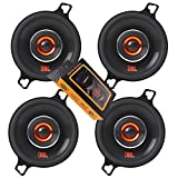 2 Pairs of JBL GX328 3-1/2 Inches Coaxial Car Audio Loudspeaker with Frequency Response: 90Hz – 21kHz / 75 Watts Peak Power / 25 Watts RMS + Gravity Magnet Phone Holder Bundle