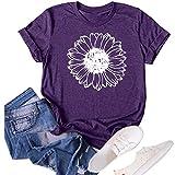 Women's Sunflower Summer T Shirt Plus Size Loose Blouse Tops Girl Short Sleeve Graphic Casual Tees (Purple, Medium)