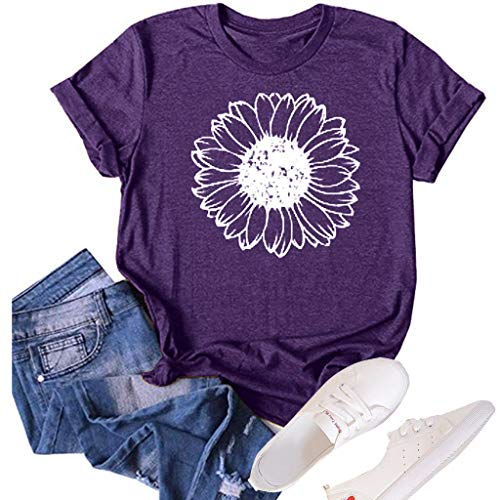 Women's Sunflower Summer T Shirt Plus Size Loose Blouse Tops Girl Short Sleeve Graphic Casual Tees (Purple, Small)