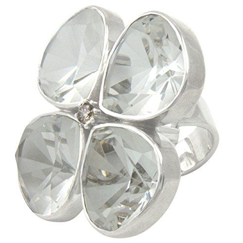 Anello di alta qualità lavorato in oro orafo dalla Germania con cristallo di rocca e diamante (argento Sterling 925), anello da donna, anello a fiori, anello a quadrifoglio.