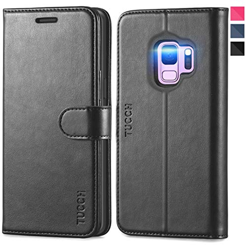 TUCCH Galaxy S9 Case, S9 Wallet Case, [Credit Card Holder] [Book] [Flip] [Slim] [Stand] PU Leather Phone Case [TPU Interior Protective Case] Magnetic Closure Compatible with Samsung Galaxy S9, Black