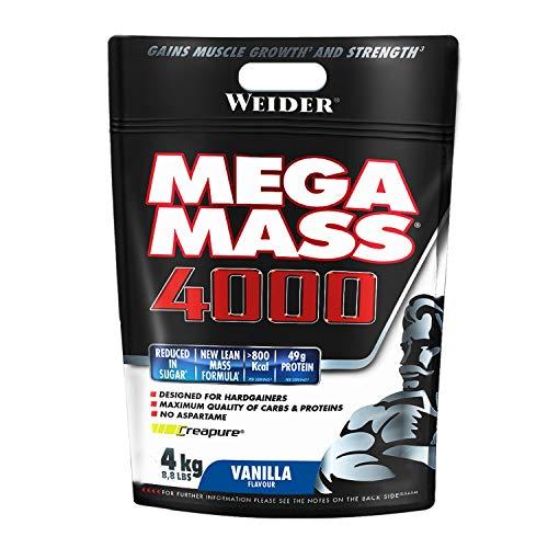 Weider Mega Mass 4000 Sabor Vainilla (4000 g). 69% de hidratos.Enriquecido con Vitaminas y Minerales.  Con menos azúcares