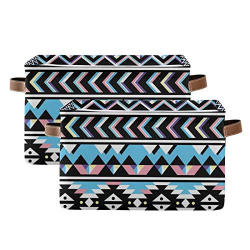 QMIN - Cesta de almacenamiento para guardar cestas de almacenamiento, diseño tribal azteca, tamaño grande, plegable, para guardar juguetes, para estanterías, guardería, hogar, dormitorio, 2 unidades