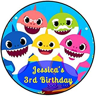"""30 personalized baby shark stickers, 1.5"""" round"""