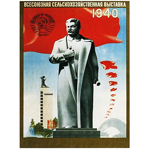 Wee Blue Coo Agriculture Soviet Union Stalin Red Flag Statue Uncle Joe Russia Art Print Poster Wall Decor Kunstdruck Poster Wand-Dekor-12X16 Zoll