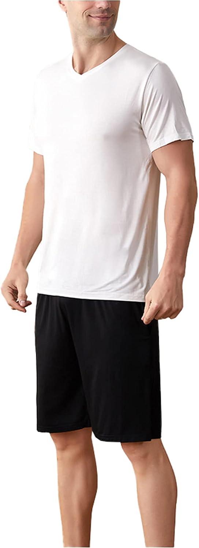LZJDS Mens Modal Thin Pajamas Set Crewneck Pullover Short Sleeve Sleepwear Pjs Suit,Black White,XXL