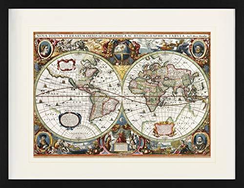1art1 Historische Landkarten - Weltkarte, Nova Totius Terrarum, 1630 Gerahmtes Bild Mit Edlem Passepartout | Wand-Bilder | Kunstdruck Poster Im Bilderrahmen 80 x 60 cm