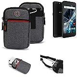 K-S-Trade® Gürtel-Tasche Für Archos 55 Graphite Handy-Tasche Schutz-hülle Grau Zusatzfächer 1x