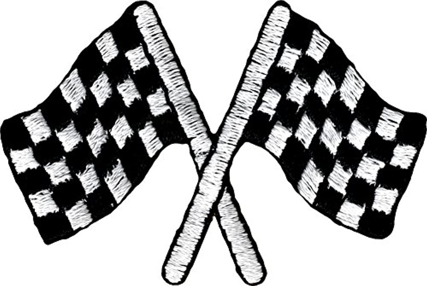 Checkered Racing Flags - Embroidered Iron On or Sew On Patch
