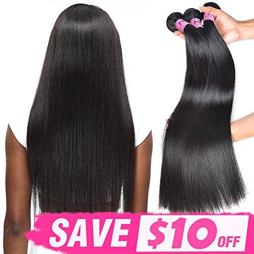 "JVH Virgin Brazilian Straight Human Hair 1 Bundle Unprocessed Brazilian Virgin Hair Weave Bundles Natural Black (10"")"