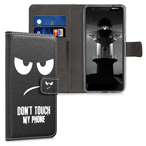 kwmobile Hülle kompatibel mit Nokia 3.1 (2018) - Kunstleder Wallet Hülle mit Kartenfächern Stand Don't Touch My Phone Weiß Schwarz