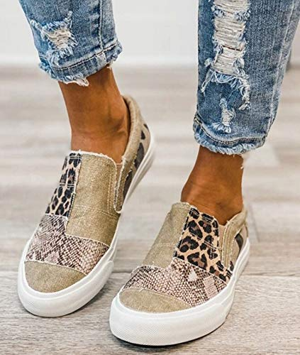 Hwcpadkj Alpargatas Mujer Tacón Plano con Pendiente Estampado de Serpiente Estampado de Leopardo Mocasines elásticos con Bloques de Color Zapatillas de Playa,Marrón,38