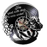 Reloj de pared Time Spent With Dog Is Never Wasted Puppy Dog Pet Puppi Vinilo Cd Disc Night Light Sign Colgante cor Reloj de 30,5 cm
