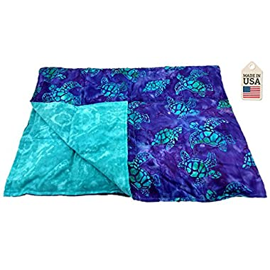 Grampa's Garden 5 LB Weighted Blanket - Batik Turtle - Premium Weighted Washable Body Blanket by