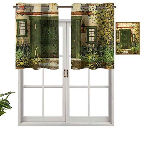 Hiiiman Premium Window Grommet Short Curtain Valance Panels Cottage Door Overgrown Bushes Grass Tree Garden Brick Fairy Tale Countryside, Set of 1, 50'x18' for Bathroom & Kitchen