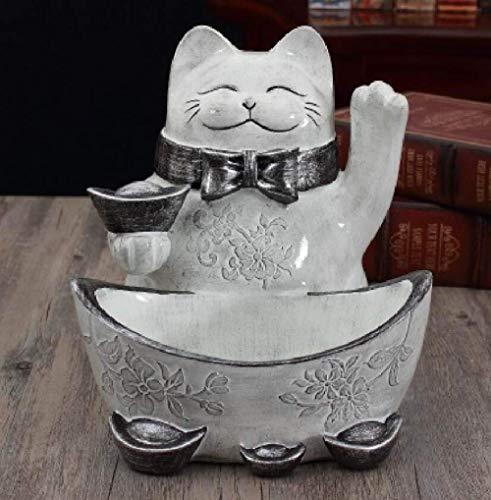 LHQ-HQ Estatuilla de estatuilla, estatuilla de gato de la suerte, blanco y negro, gabinete de vino, corredor, zapatero para almacenamiento de llaves para decoración del hogar
