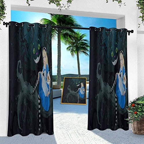 Aishare Store Outdoor Printed Curtains, Alice in Wonderland,Fairytale Kids, 100' x 108' Thermal Insulated Grommet for Patio Porch Cabana(1 Panel)