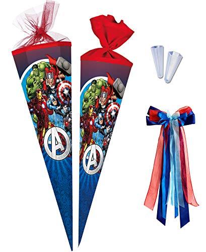 Nestler Schultüte zum Befüllen [ 85cm - 6-Eckig ] Handgemachte Zuckertüte aus kaschiertem Karton - Motiv Avengers von Marvel inkl. Schutzspitze und Schleife