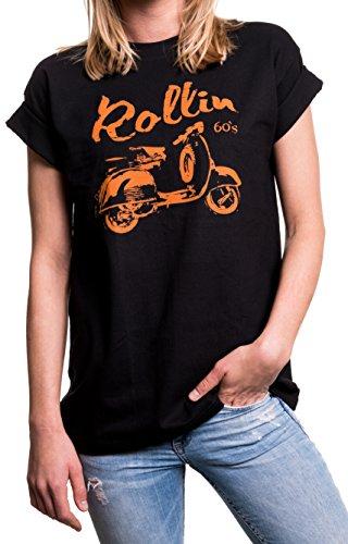 Rockabilly Damen Oberteile große Größen - Vintage Vespa Roller - Oversize Shirt schwarz mit Druck XXL
