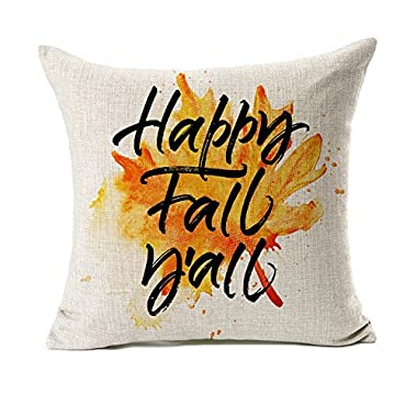 Happy Fall Y'all Leaf Throw Pillow Case Cushion Cover Decorative 18  x 18