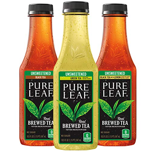 Pure Leaf Iced Tea, 0 Calories Unsweetened Variety Pack, 18.5 Fl Oz Cans (12 Pack)