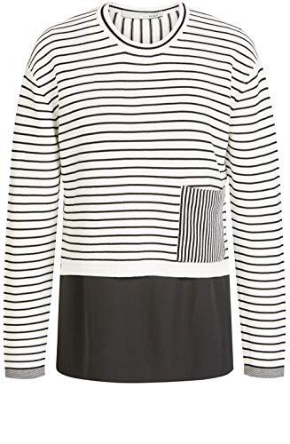 Oui Pullover mit Streifeneffekt Gr. 42, weiß/schwarz