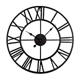 Zaptex Non Ticking Wall Clock 16-inch Large Metal Indoor Wall Clock Battery Operated with Roman Numerals Wall Decor (Black)