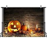 LYWYGG 7x5FT Fondo de Fotografía de Halloween Tablero de Madera Marrón Fondo Vela Linterna de...