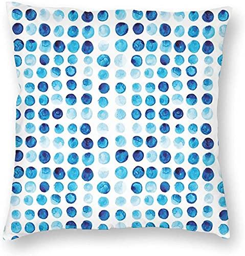 Azul Retro Dibujado A Mano Círculos Redondos Células De Color Pintadas Burbuja Como Estilo Azulejo Azul Pálido Cuadrado Impreso Algodón Funda Slipover Almohada Slip-45,7 x 45,7 cm