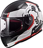 LS2 Rapid Ghost Casco de Moto, Hombre, Blanco Negro Rojo, M