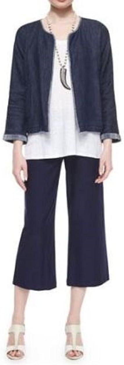 Eileen Fisher Womens Cotton Faux Denim Cardigan Top Blue XS