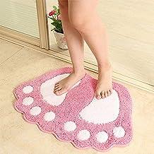 Bathroom Mat Carpet Door Mat Toilet Water Slip Rug Bath Mat Washable Soft mat (Color : Pink, Size : 48x67cm)