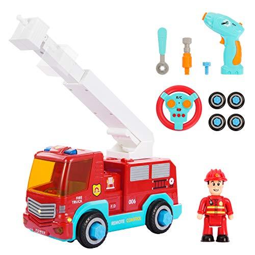 SGILE Ferngesteuertes Feuerwehrauto mit Drehleiter, Licht und Sound für Kleinkinder - 2,4 GHz Take Apart Feuerwehrwagen Spielzeug für Kinder mit Bohrmaschine, RC Auto BAU Spielzeugauto Geschenk