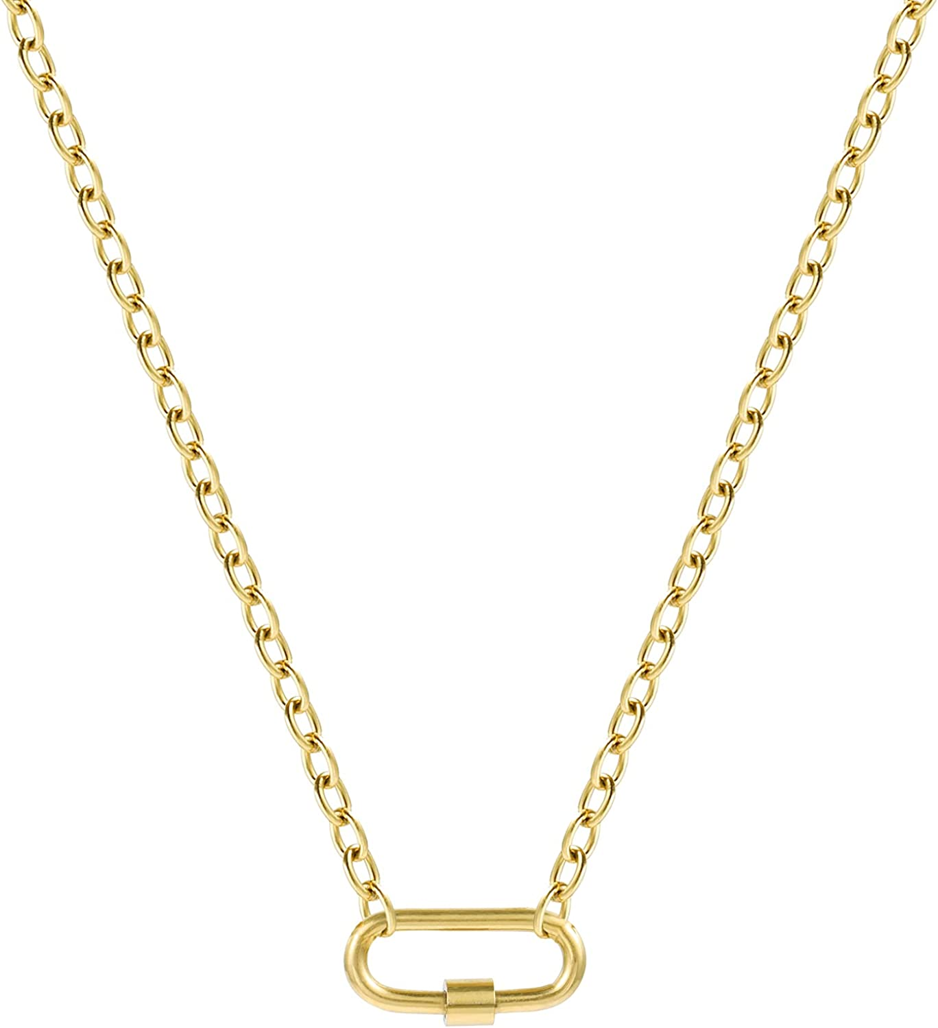14K Gold Plated Paperclip Oval Link Pendant Necklace with Heart Square Pendant Chain Necklaces Dainty Minimalist Chains for Women Girls