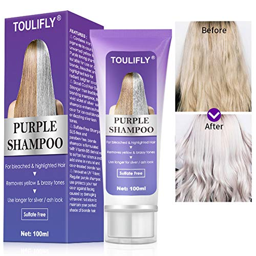 Purple Shampoo, Purple Shampoo for Blonde Hair, Bleached, Silver, or Brown Highlighted Hair, For Bleached & highlighted Hair, Removes Yellow & Brassy Tones, Use longer for Silver/Ash Look