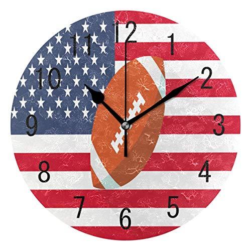 Use7Home Decor Rugby American Flag Football Acryl, rund Wanduhr Geräuschlos Silent Uhr Kunst für Wohnzimmer Küche Schlafzimmer