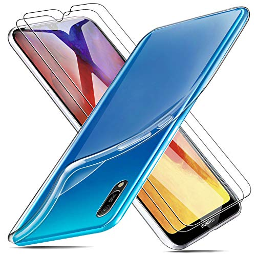 MICASE Funda para Huawei Y6 2019 + 2 X Protectores de Pantalla in Cristal Templado, Carcasa Silicona Transparente Protector Suave TPU Ultra Fino Anti-Rasguño Anti-Golpes Case Caso