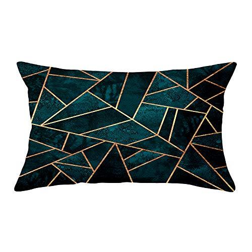Hengjiang Housse de coussin en peluche douce avec impression recto verso avec motif géométrique, 30 x 50 cm - Noir, Vert, Bleu, Polyester, 09, about 50*30cm