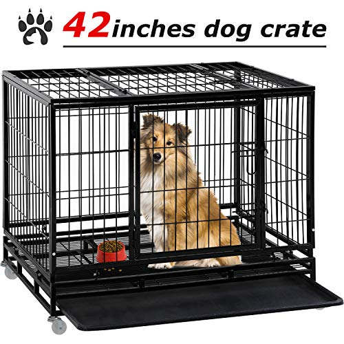 Dog Crate Dog Cage Dog Kennel for Large Dogs Heavy Duty 42 Inches Pet Playpen for Training Indoor Outdoor with Plastic Tray Double Doors & Locks Design Basic Crates