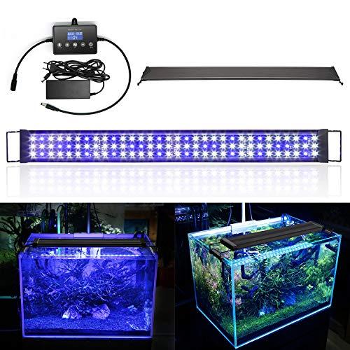 wolketon 48W LED Aquarium Beleuchtung Universal mit LED Aquarium Timer, Aquarium Lampe LED Pflanze mit LED Lichtmodulator,für Reef Coral Fish Wasserpflanzen Aufsetzleuchte