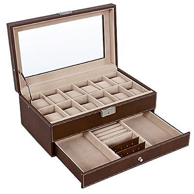 SONGMICS Watch Box Jewelry Organizer Brown Case with 12 Pillows Lockable UJWB012Z
