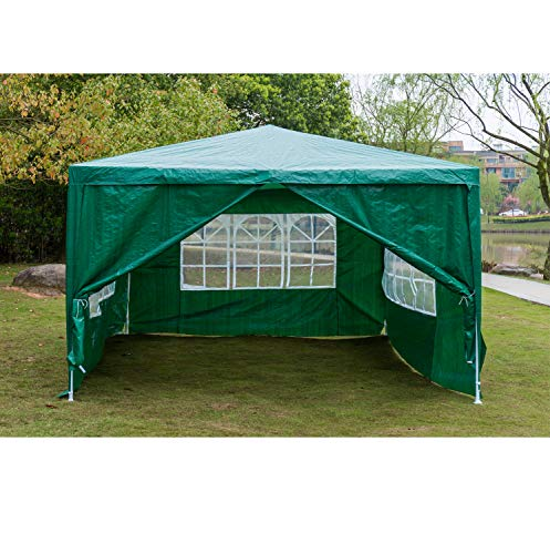 AutoBaBa Garden Gazebos, 3x4m Garden Gazebo Marquee Tent with Side Panels, Fully Waterproof, Powder Coated Steel Frame for Outdoor Wedding Garden Party, Green