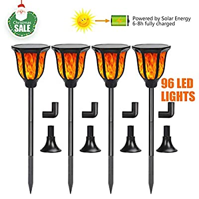 USCAMEL Solar Torch Light 96 LED Waterproof Outdoor Deco Landscape Light with Flickering Flame Exterior Wall Sconce for Porch Garden Patio Balcony Yard Path 4 Pack