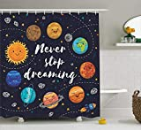 LongTrade Quote Shower Curtain Duschvorhang Outer Space Planets and Star Cluster Solar System Moon and Comets Sun Cosmos Illustration, Cloth Fabric Bathroom Decor Set with Hooks, Navy Orange 60x72 in