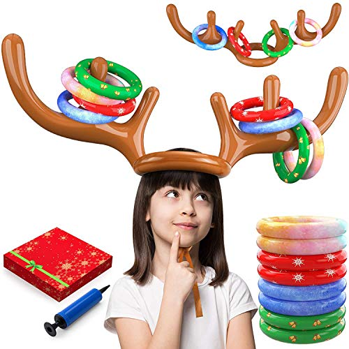 dizauL 2021 Reindeer Antler Ring Toss Game – Reindeer Game for Two Players – Interactive Christmas Party Games for Adults and Kids – Reindeer Ring Toss Hat with 2 Antlers and 8 Rings.