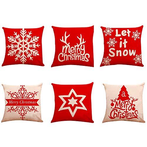 Christmas Decorative Pillow Covers 6Pcs Christmas Tree...